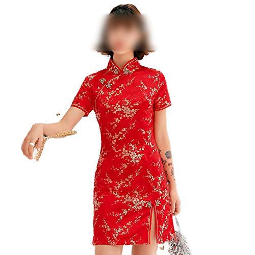 Qipao Cheongsam - Vestido chino chino con cuello mandarín para mujer