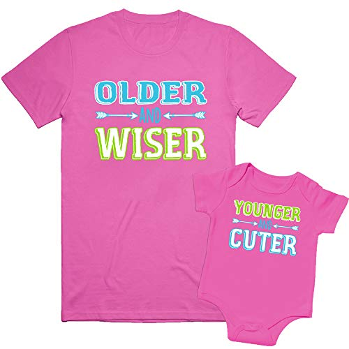 Nursery Decals and More Sibling Tshirt Set For Baby With Younger and Cuter, Includes Size 3 & 0-3 MO