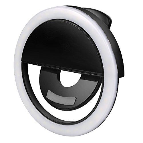 Olliwon Anillo de Luz para Movil, 3 Modo de Iluminación 36 LED Aro de Luz Cobrable para Maquillaje, Fotografia, Youtube Live, Tik Tok y Tutoriales Online - Negro