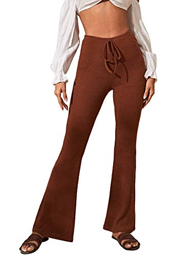 SweatyRocks Women's Flare Palazzo Pants Ribbed Knit Wide Leg Casual Bell Bottoms Brown Medium