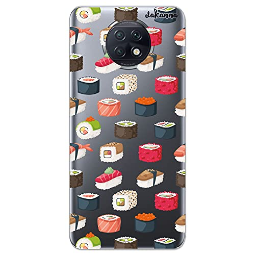 Dakanna Funda Compatible con [ Xiaomi Redmi Note 9T ] de Silicona Flexible, Dibujo Diseño [ Comida Sushi ], Color [Fondo Transparente] Carcasa Case Cover de Gel TPU para Smartphone