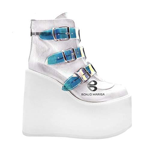 Botines de Mujer Blancos con Punta Redonda y Cremallera Lateral con Plataforma y Hebilla de Moda de Colores Mezclados Otoño Invierno Botas Cortas de tacón de cuña