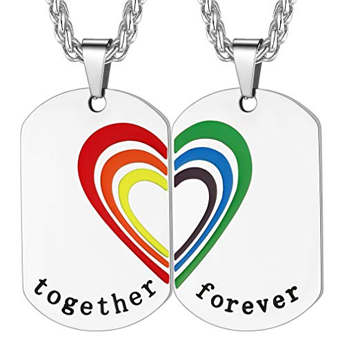 FaithHeart Set 2 Piezas Collares para Parejas Homosesuales LGBT Placas Rectangulares Acero Inoxidable 316L Joyerías Modernas para Gays Lesbianas Textos Personalizados