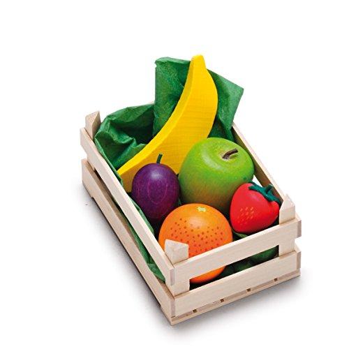 Erzi 28231 Sortiment Obst, klein aus Holz, Kaufladenartikel für Kinder, Rollenspiele
