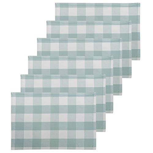 C&F Home Franklin Buffalo Check Gingham Plaid Woven Sea Glass Coastal Tropical Beach Blue Cotton Placemat Set of 6 Rectangular Placemat Set of 6 Green