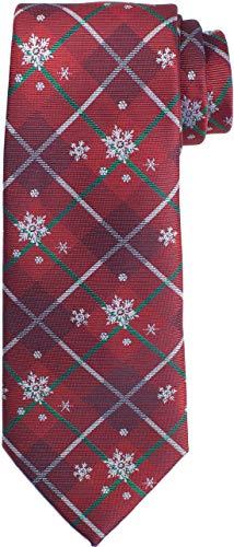KissTies Christmas Tie Snowflakes Red Plaid Necktie Holiday Season + Gift Box