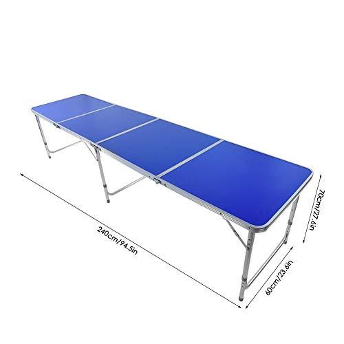Wakects Draagbare tafeltennis tafel campingtafel inklapbare tafeltennistafel voor binnen en buiten, hoogwaardige aluminiumlegering materiaal, gewicht 10450 g, blauw