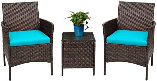 Devoko Patio Porch Furniture Sets 3 Pieces PE Rattan Wicker Chairs with Table Outdoor Garden Furniture Sets (Brown/Blue)