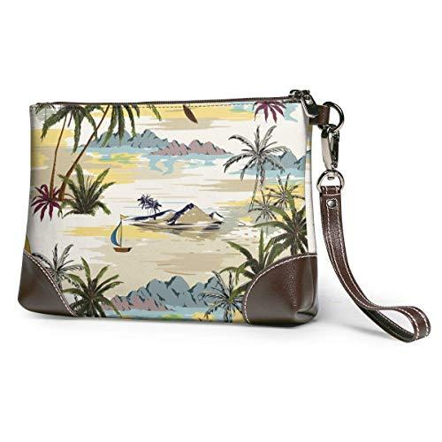 GLGFashion Carteras de cuero para mujer Beautiful Island With Palm Trees,beach And Ocean Women's Travel Leather Wristlet Clutch Purses Makeup Cosmetic Case Portable Storage Bag Wallet Handbag