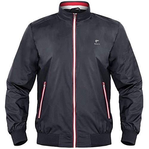 Man&Jenensy Mens Bomber Baseball Streetwear Chaquetas Varsity Jacket Chaqueta de piloto a Prueba de Viento Dark Gray M
