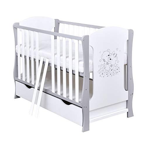 Baby Delux Babybett Kinderbett umbaubar Juniorbett Schublade Matratze Bärchen Motiv 120×60 Weiß Grau
