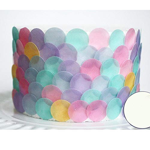 KXCLL Circle Type aangepaste eetbare kleurrijke Pre gesneden Wafer Cupcake pers, Cake idee Decoratie, Eetbaar papier voor Cupcake Decoratie white Dia-1cm 300pcs