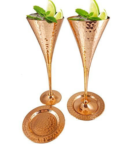 Moscow Mule Copper Flutes Set of 4 with Matching Pure Copper Coasters for Champagne Mules, Appetizers, Weddings. Kamojo Exclusive