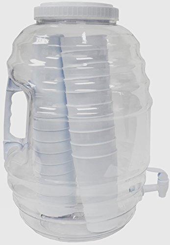 American Made P-03195 American Maid 5 gallon WHITE Vitrolero Beverage Dispenser W/Tumblers Inside, 5 gal