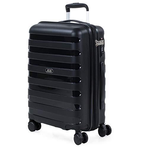 JASLEN - Maleta de Cabina expandible para Viaje rígida con 4 Ruedas Dobles Fabricada en Polipropileno con Cerradura TSA, Ligera y 161250, Color Negro