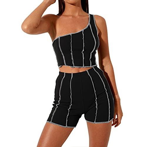 MAHUAOYIXI Conjunto deportivo de mujer para mujer, traje deportivo de mujer Crop Top corto de un hombro + pantalones cortos de cintura alta, para yoga, fitness Negro L