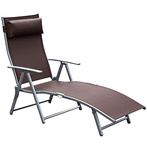 Outsunny Sonnenliege Strandliege Gartenliege Relaxliege klappbar mit Kissen Strand Metall + Stoff Braun 137 x 63,5 x 100,5 cm