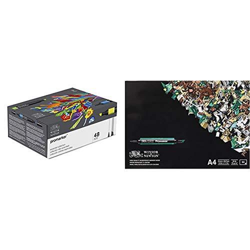 Winsor & Newton - Promarker - Set de 48 rotuladores, surtidos + 6002004 - Pack de 50 hojas de papel para rotuladores, A4, color blanco