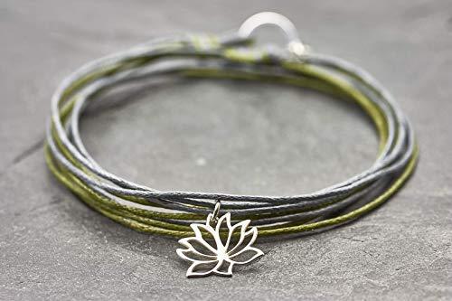 Wickelarmband Lotus Blüte 925 grau grün Baumwollband Vegan
