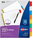 Avery 8-Tab Binder Dividers, Write & Erase Multicolor Big Tabs, 6 Sets, School Binder Organizers (23079) - 73079