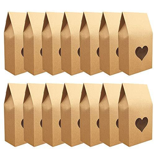 Caja de Dulces de Papel Kraft, 30 Piezas Caja de Papel Kraft de Regalo de Fiesta, Caja de Papel con Ventana Transparente para Navidad, Fiesta Infantil, Cumpleaños, Chocolate(Corazón)