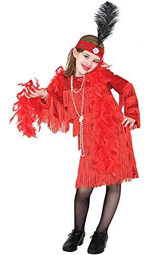 chiber Disfraces Disfraz de Charlestón Rojo con Flecos para niña (7 años)