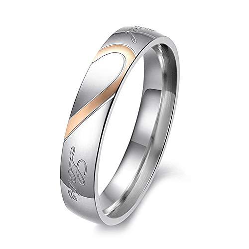 Yeaphy Aliança masculina e feminina de aço de titânio, amor real, amor, casais, noivado, compromisso, anel de noivado