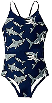 Funnycokid Little Girls Shark One Piece Swimsuits Size 6 3D Graphic Printing Bathing Suit Bikini 5-6 Years