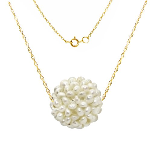 14k Yellow Gold Chain Necklace with 15-16mm Snowball Design White Freshwater Cultured Pearl as Pendant, 18