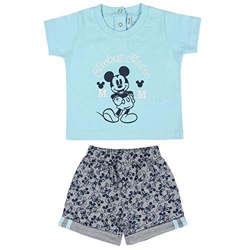 Cerdá Conjunto Ropa Bebe Niño Disney Mickey Mouse-Camiseta + Pantalon de Algodón-Color Azul, 12 meses para Bebés