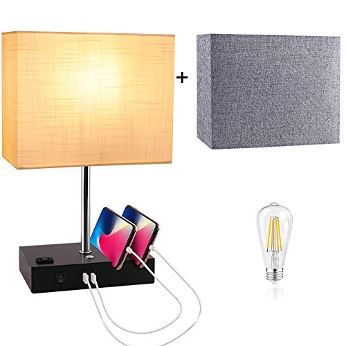 PARTPHONER Touch Control Table Lamp, Dual USB Ports Bedside Lamp, 3 Way Dimmable Nightstand Lamp with White & Gray Fabric Shades, an AC Outlet, for Living Room, Bedroom, Guest Room(Bulb Included)