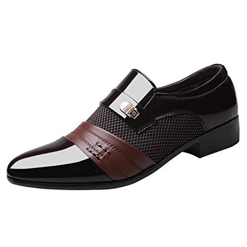 Fashion Männer Business Lederschuhe Casual Komfortable Hochzeitsschuh Männlichen Anzug Schuhe Glänzend Reflektierend Anzugschuhe Business-Halbschuh Klassischer Schnürhalbschuhe