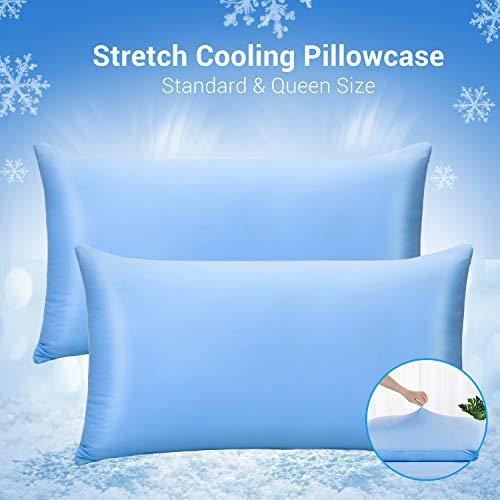 Luxear kühlender Kissenbezug 2er-Set mit japanischen Kühlfasern atmungsaktiv, allergikerfreundliche und vollelastische Kopfkissenbezüge, Haare/Haut schonende Kissenhülle 40 x 80 cm - Blau