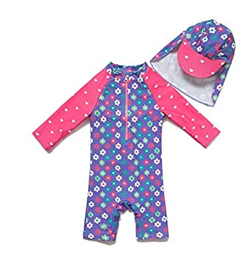Baby/Toddler Girl One Piece Swimsuit with UPF 50+ Sun Protection (Purple, 18-24 Months)