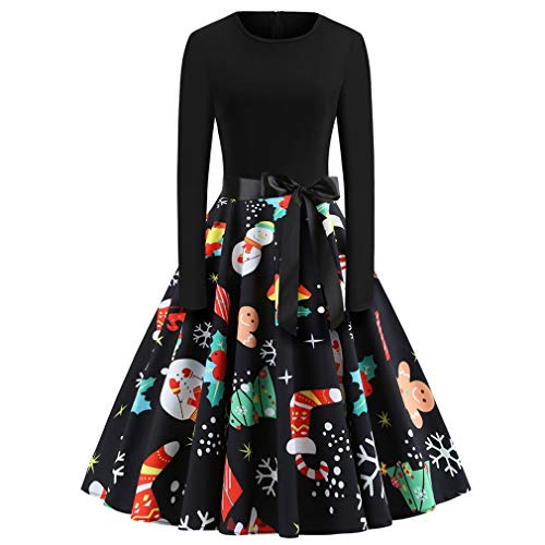 Alljoin Women's Vintage Christmas O-Neck Printed Party Retro A-Line Swing Dress (Black Long Sleeve 2#, 2XL)