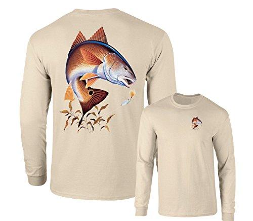 Redfish Lure Fishing Long Sleeve T-Shirt, Sand, XXL