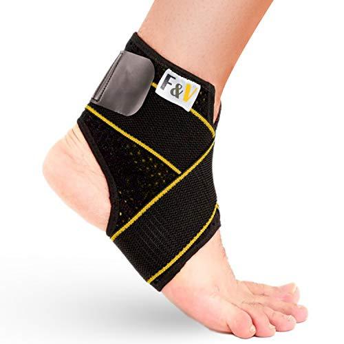 Cavigliera sportiva, F&V, Cavigliera sportiva per distorsione, Tutore caviglia, Cavigliera donna - uomo, Unisex Impermeabile, Design ultrasottile traspirante a compressione, Tutore piede (L 38-42)