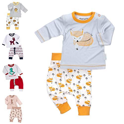 Baby Sweets Unisex 2er Baby-Set mit Hose & Shirt für Mädchen & Jungen/Baby-Erstausstattung in Orange, Weiß & Grau im Fuchs-Design/Baby-Kleidung Neugeborenen-Set aus Bambus/Größe Newborn (56)