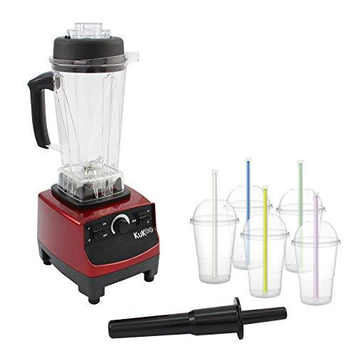 KuKoo Gastro Profi Hochleistungsmixer Standmixer Mixer Smoothie Maker Milkshake Maker Multi Zerkleinerer Ice Crusher Cocktail Maker Gastro 2 Liter mit 5 Smoothie Becher mit Deckel & Strohhalmen BPA Frei