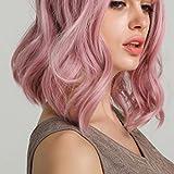 Pelucas rizadas cortas Longitud del hombro Peluca ondulada rizada Rosa pastel Corto Bob Pelucas sintéticas Pelucas de disfraces de cosplay Peluca de moda con flequillo de aire para mujeres Peluca