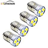Ruiandsion - Bombilla LED E10 (4 unidades, 3 V, 6 V, 12 V), 3030, 3 SMD, luz blanca - bombilla de repuesto para faros, linternas, negativo a tierra, 3 V