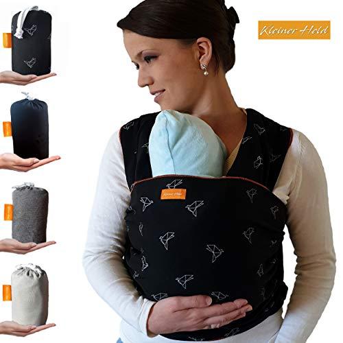 Kleiner Held Babytragetuch hochwertiges elastisches Baby Tragetuch Babytrage für Früh- und Neugeborene Babys ab Geburt bis 15 kg inkl. Wickelanleitung und Aufbewahrungstasche - Farbe schwarz Muster