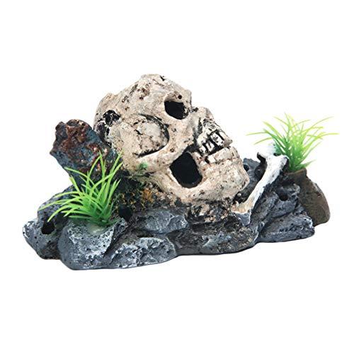 Cachette crâne en résine pour décoration d'aquarium - grotte en cuir de reptile, cachette pour reptiles, décoration crâne pour aquarium en pierre à air - accessoires pour poissons betta