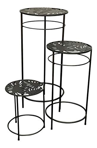 Country Baskets 3 Metal Planter Stands - Round Matt Black Home Garden Patio Nesting Tables