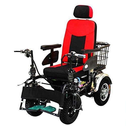 ZXMDP Elektrische rolstoel, licht en opvouwbaar frame, draagbaar, voor reizen, chairfor, met knipperen, geschikt voor ouderen, 20 Ah lithium batterij
