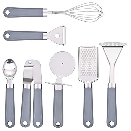 Uarter Kitchen Utensil Sets 7 Pcs - Kitchen Tools Essentials Gadgets - Cookware Gadgets/Accessories with Potato Masher | Peeler | Cheese Grater | Whisk | Pizza Cutter - Cooking Utensils for Daily Use