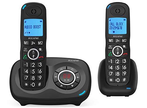 ALCATEL XL 595 B Voice duo avec répondeur, pack téléphone pour les seniors avec blocage des appels intempestifs