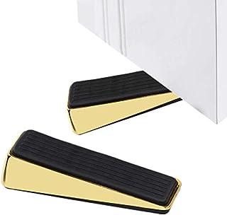 Golden Doorstop (Pack of 2) - Premium Quality Zinc Alloy - Durable Heavy Duty Decorative Doorstopper - Doorstop Wedge for ...