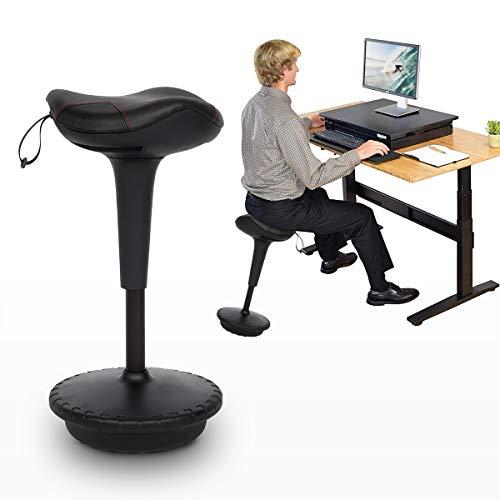 YU YUSING - Sgabello ergonomico da ufficio, imbottito, regolabile in altezza, girevole a 360° (nero)