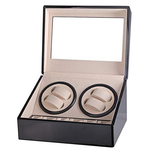 Stijlvolle horlogebandje winder automatisch horloge met geluidsarme motor voor heren, 4 + 6 horloges, opbergdoos voor Rolex, Shell hout, pianolak buiten, zacht en flexibel